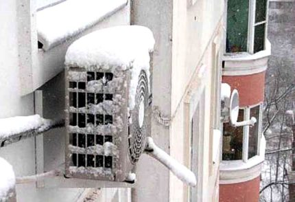 Frozen outdoor air conditioning unit