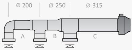 Gaisa vads ar dažādu diametru
