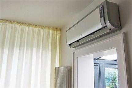 Indoor unit near the window
