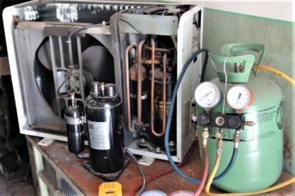 Split system compressor in a repair shop
