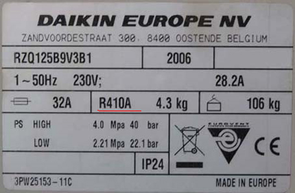 Air conditioner technical label