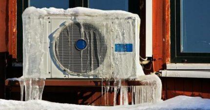 Icy outdoor air conditioner unit