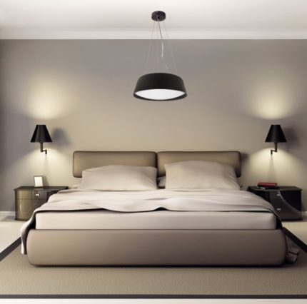 An example of a harmonious combination of the design of lamps with the interior of the room