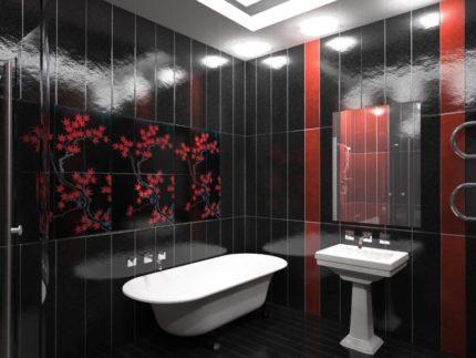 Salle de bain à panneaux en plastique rouge et noir
