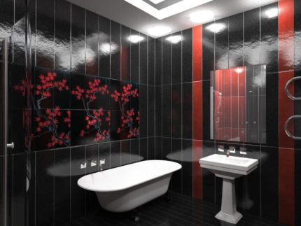 Red and black plastic panel bathroom