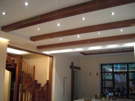 Éclairages sur un plafond tendu
