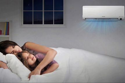Gaisa kondicionēšana darbojas naktī