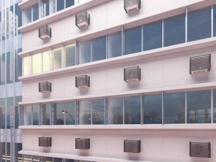 Ant pastato fasado esantys oro kondicionierių krepšiai